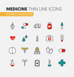 Health care and medicine thin line icons set vector