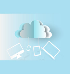 Cloud technology business devices backgroundpaper vector