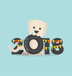 Cute dog celebrating 2018 vector