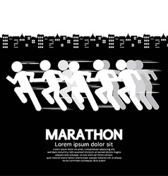 Marathon runner sign vector