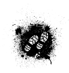 Ink blots and footprint vector