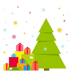 Christmas tree and piles of presents vector image