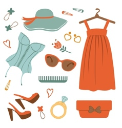 Stylish fashion elements colorful collection vector image
