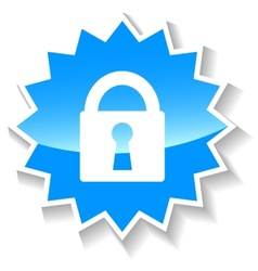 Lock blue icon vector