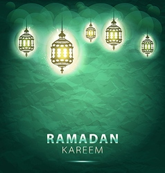 Traditional lantern ramadan kareem art beautiful vector