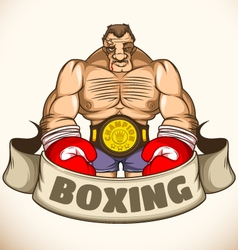 Professional boxer after a fight emblem vector