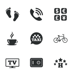 Hotel apartment services icons coffee sign vector