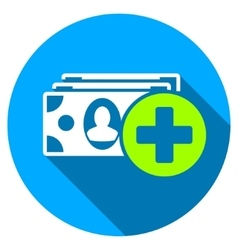 Medical expences flat round icon with long shadow vector