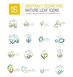 Geometric leaf icon set vector