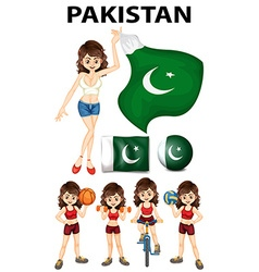 Pakistan flag and many sports vector