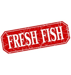 Fresh fish red square vintage grunge isolated sign vector