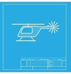 Helicopter sign  white section of vector