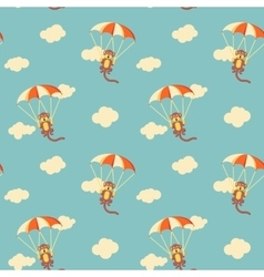 Pattern of monkeys with parachute vector image