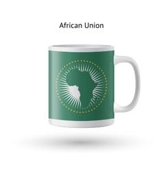 African union flag souvenir mug on white vector