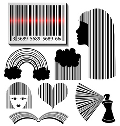 Bar code set vector image vector image