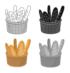 Basket of baguette icon in cartoon style isolated vector