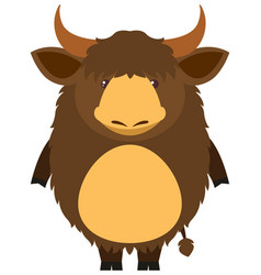 brown yak with happy face vector image vector image