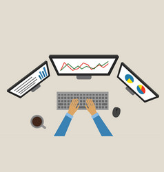 business chart working laptop marketing analysis vector image