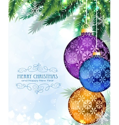 Christmas baubles with fir branches vector