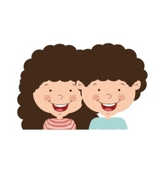 couple of children half body and curly hair vector image