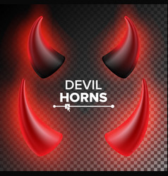 Devils horns red luminous horn realistic vector
