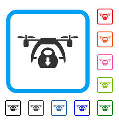 drone unloading framed icon vector image vector image