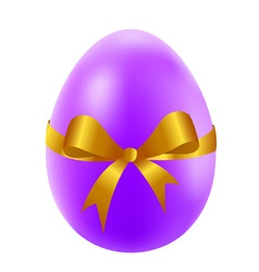 easter egg with golden bow vector image vector image