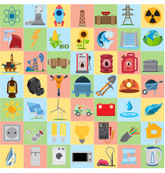 Energetics icons flat energetics icons set vector