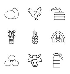 Farming icons set outline style vector