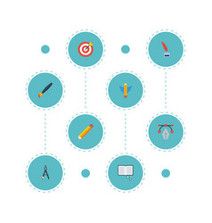 Flat icons compass science arrow and other vector
