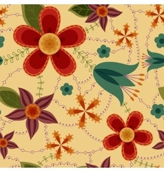 Flowers pattern retro vector image vector image