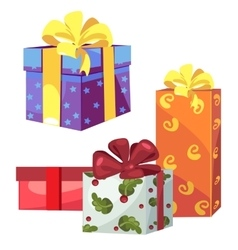 Four gift boxes with ribbon and bow vector image vector image