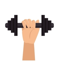 hand hold barbell fitness design vector image
