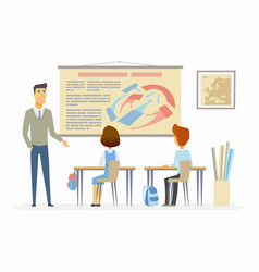 history lesson at school - modern cartoon people vector image vector image