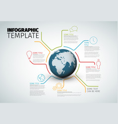 Infographic report template with globe vector