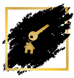 Key with keychain as an house sign golden vector