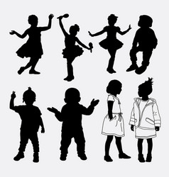 Kid and child playing silhouette vector