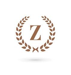 Letter z laurel wreath logo icon design template vector