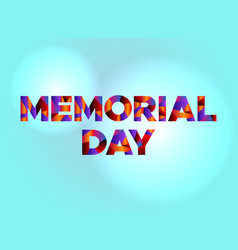 Memorial day concept colorful word art vector