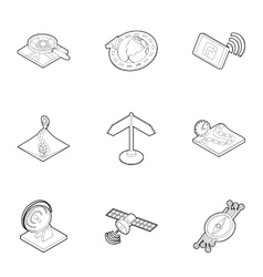 Navigation icons set outline style vector