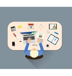 Office table top view business vector image