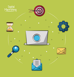 Poster of digital marketing with laptop computer vector