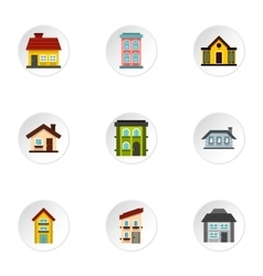 Residence icons set flat style vector