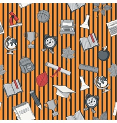 School seamless pattern on striped bacground vector