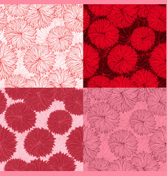 set of four seamless red floral pattern vector image