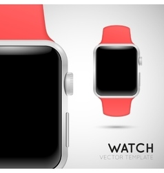 Smart watch with pink wristband vector