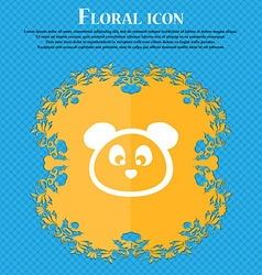 Teddy bear icon sign floral flat design on a blue vector