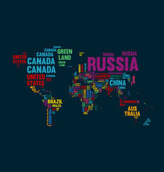 Text world map country name typography design vector
