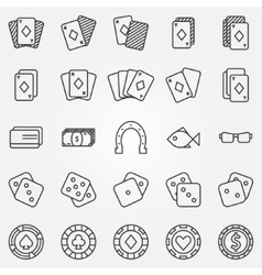 Thin line poker or casino icons set vector image