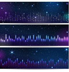 Three backgrounds with equalizer vector